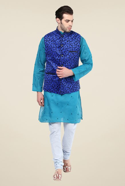 Yepme Blue Printed Nehru Jacket