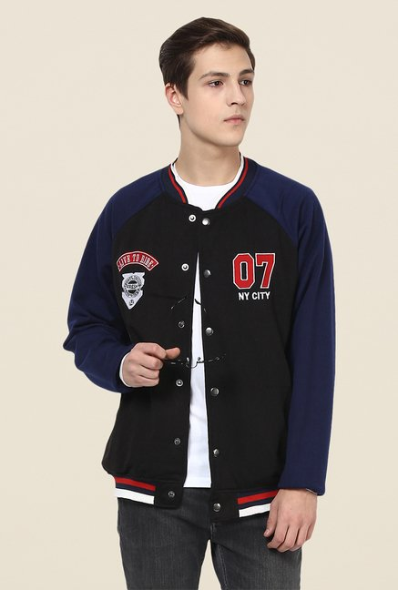 Yepme Toretto Black & Blue Printed Jacket