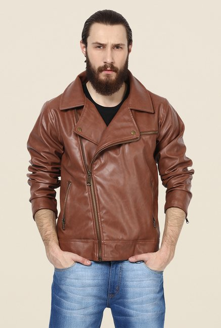 Yepme Fern Brown PU Leather Jacket