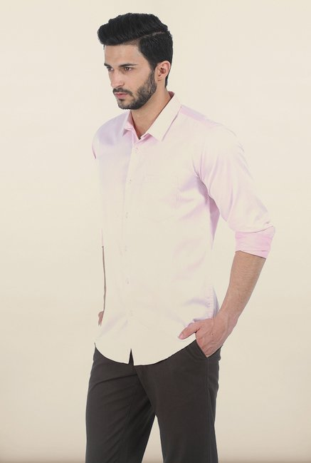 Basics Powder Pink Herringbone Twill Slim Fit Shirt