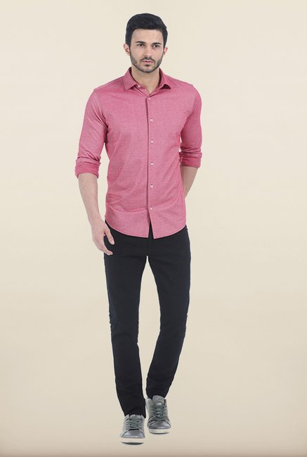 Basics Red Birds Eye Knit Slim Fit Shirt