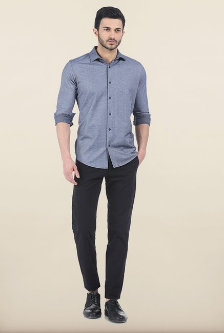 Basics Cloudy Navy Birds Eye Knit Slim Fit Shirt