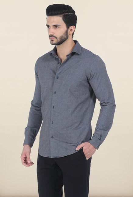 Basics Quiet Grey Knit Slim Fit Shirt