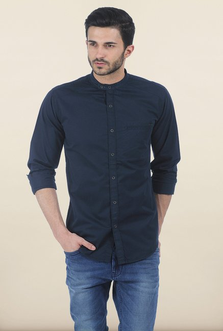 Basics Blueberry Fine Twill Slim Fit Shirt