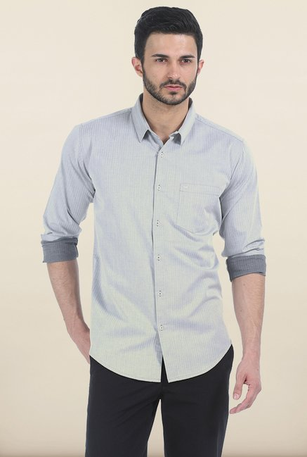 Basics Frost Grey Herringbone Twill Slim Fit Shirt