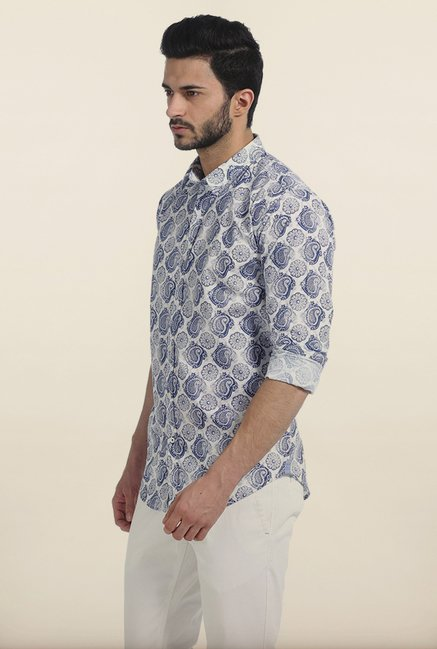 Basics Monaco Blue Paisley Printed Cambric Slim Fit Shirt