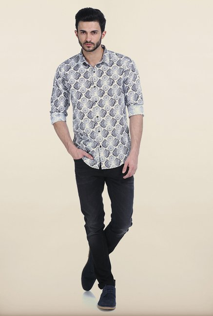 Basics Black Bean Paisley Printed Cambric Slim Fit Shirt