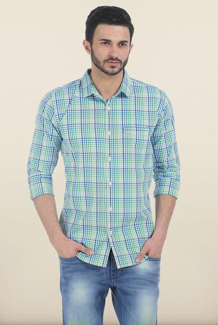 Basics Fern Green Gingham Checked Slim Fit Shirt