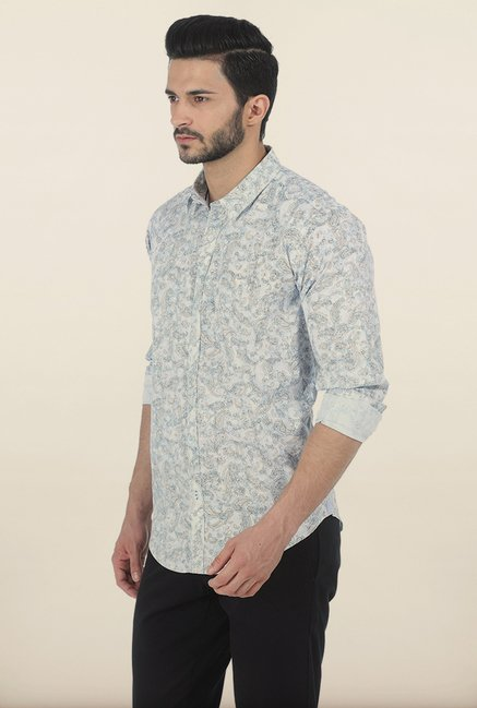 Basics Ballad Blue Paisley Print Slim Fit Shirt