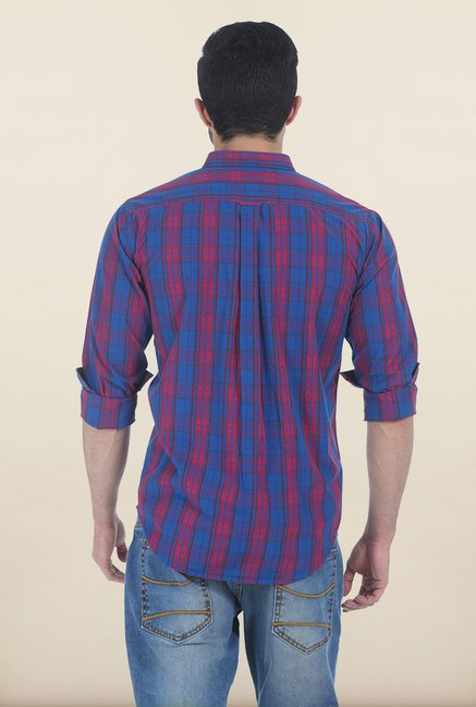 Basics Blue & Wine Red Madras Checks Slim Fit Shirt