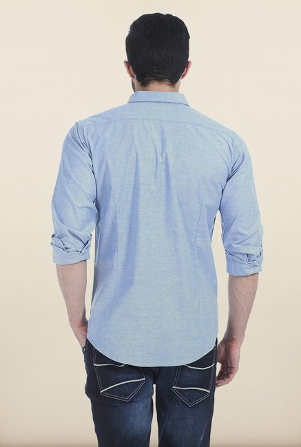 Basics Blue Fog Oxford Slim Fit Shirt