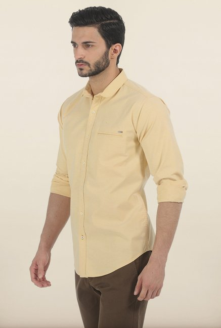 Basics Buff Yellow Oxford Slim Fit Shirt