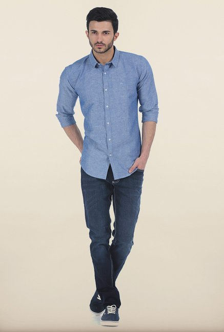 Basics Dusty Blue Chambray Combination Slim Fit Shirt
