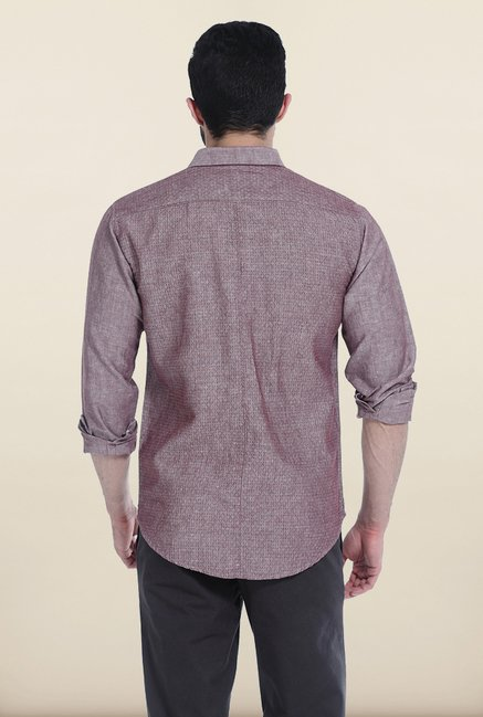 Basics Purple Chambray Combination Slim Fit Shirt