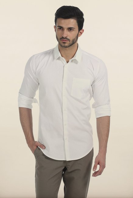 Basics White Mist Slim Fit Oxford Shirt