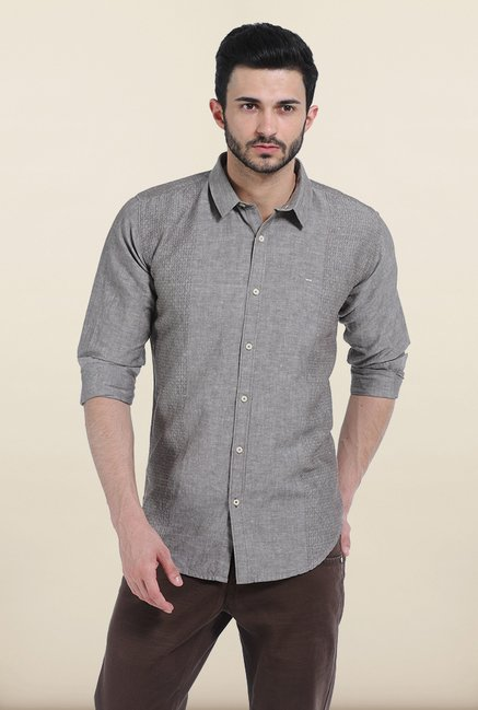 Basics Moon Rock Chambray Combination Slim Fit Shirt