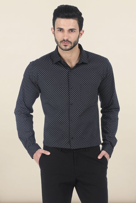 Basics Black Moonless Night Printed Slim Fit Shirt