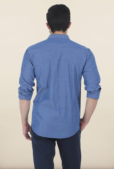 Basics Blue Slim Fit Oxford Shirt