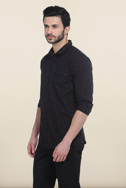 Basics Moonless Night Printed Poplin Slim Fit Shirt