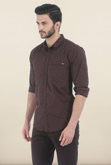 Basics Brown Stone Printed Poplin Slim Fit Shirt