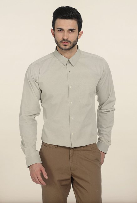 Basics Beige Cambric Printed Slim Fit Shirt