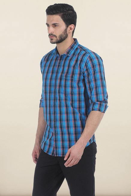 Basics Swedish Blue Checked Slim Fit Shirt