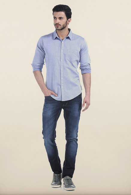 Basics Classic Light Blue Slim Fit Dobby Shirt