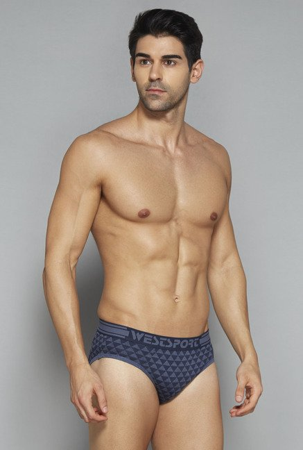 Westsport by Westside Blue, Navy Printed Briefs (Set Of 3)