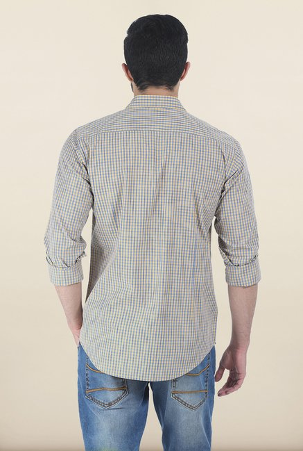 Basics Tinsel Yellow Spaced Dyed Checks Slim Fit Shirt