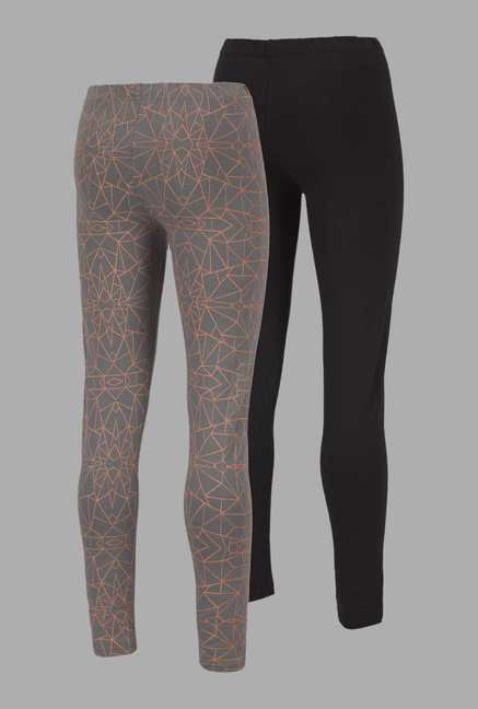 Doone Grey & Black Printed Training Pants (Set Of 2)