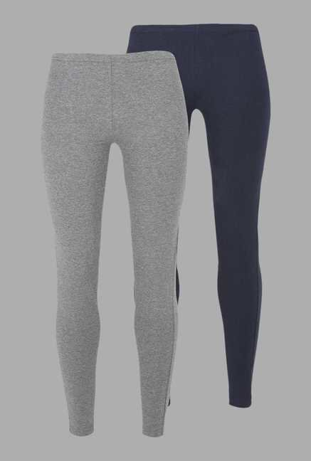 Doone Navy & Grey Solid Training Pants (Set Of 2)