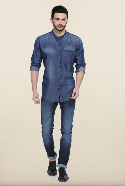 Basics Mood Indigo Denim Slim Fit Shirt