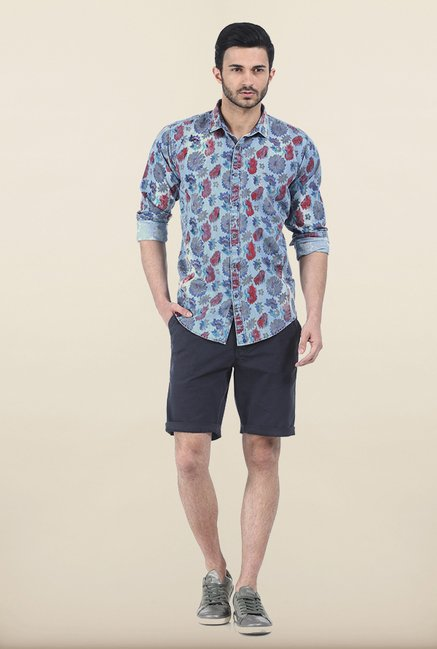 Basics Infinity Blue Indigo Floral Printed Slim Fit Shirt