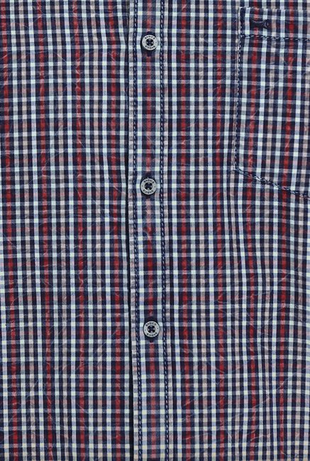 Basics Apple Butter Indigo Checks Slim Fit Shirt