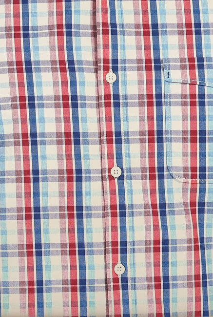 Basics Red & Blue Checked Slim Fit Shirt