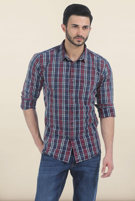 Basics Jester Red Indigo Checks Slim Fit Shirt