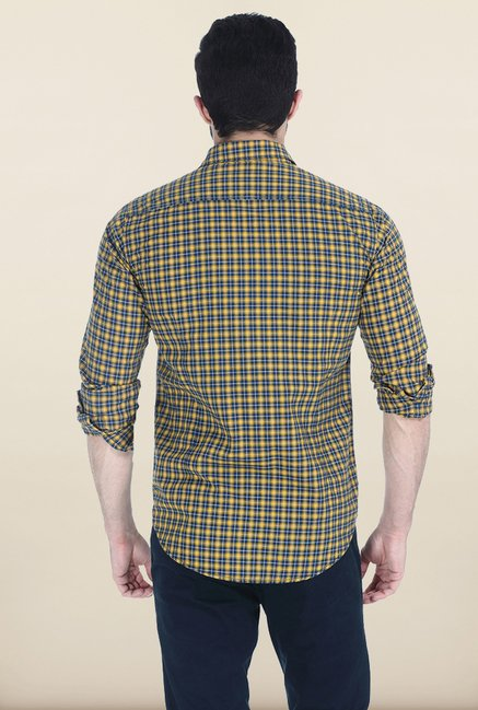 Basics Mineral Yellow Tartan Checked Slim Fit Oxford Shirt