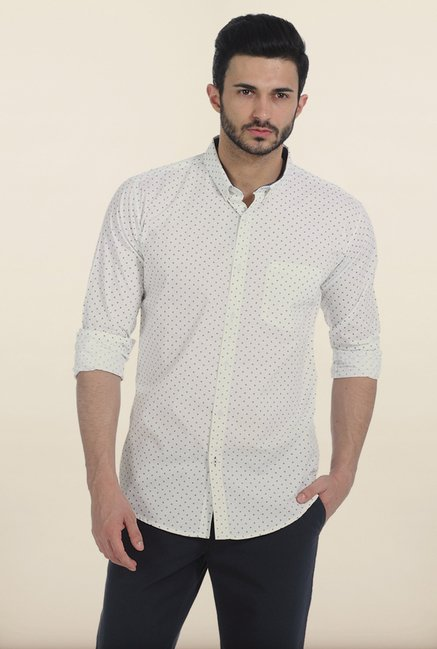 Basics Snow White Motif Print Slim Fit Shirt