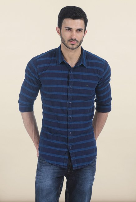 Basics Olympian Blue Weft Dobby Slim Fit Shirt