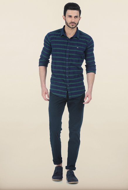 Basics Evening Blue Weft Dobby Slim Fit Shirt