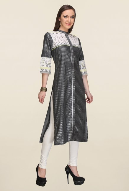 W Grey Printed Kurta