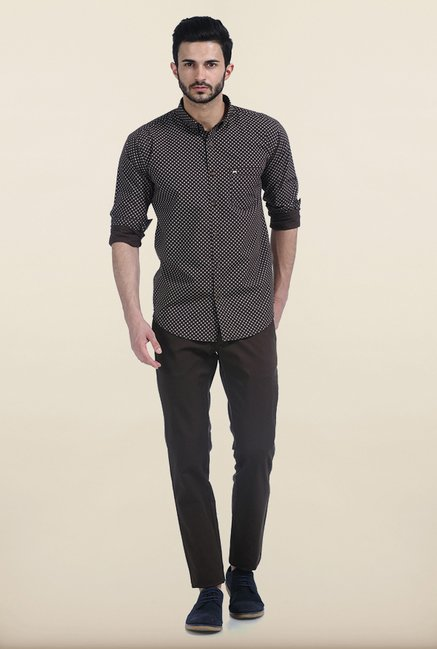 Basics Cub Brown Ornament Circle Dotted Slim Fit Shirt