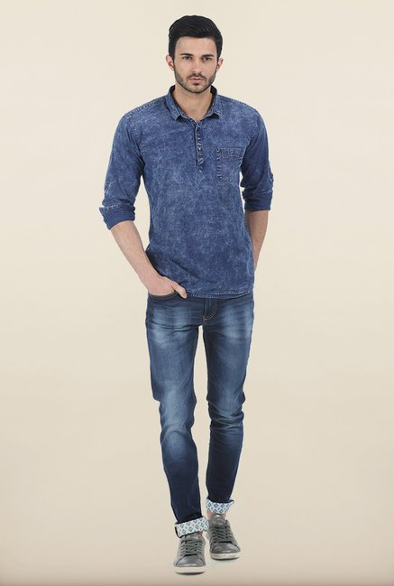 Basics Allure Blue Indigo Denim Slim Fit Kurta