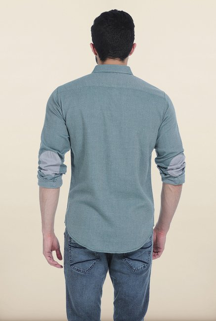 Basics Bistro Green Dobby Structure Slim Fit Shirt