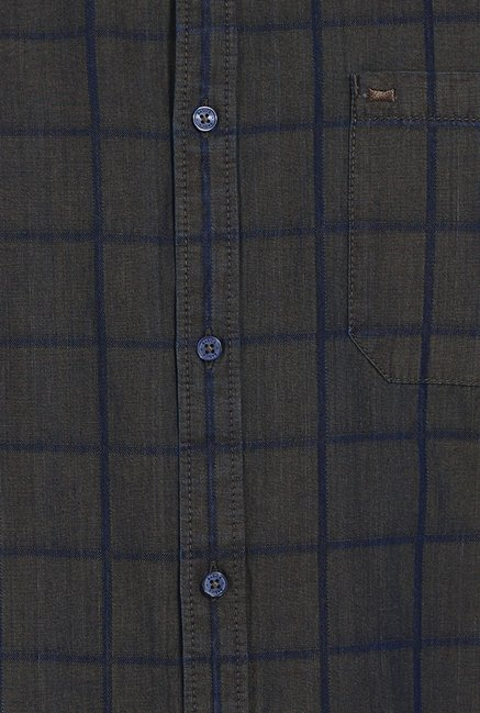 Basics Olive Checks Slim Fit Shirt