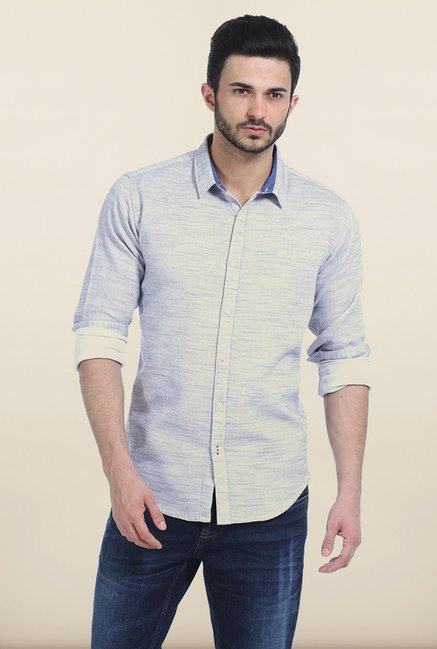 Basics Winter Sky Yarn Dyed Dobby Slim Fit Shirt