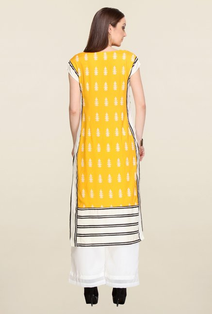 W Yellow Block Print Kurta