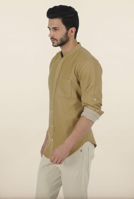 Basics Prairie Sand Birds Eye Dobby Slim Fit Shirt