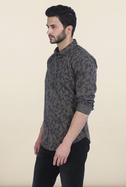 Basics Dusty Olive Printed Twill Slim Fit Shirt