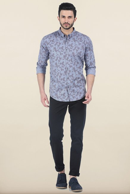 Basics Quicksilver Printed Twill Slim Fit Shirt
